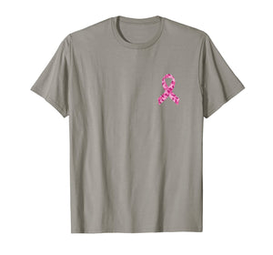Camo pink ribbon pocket print breast cancer awareness T-Shirt
