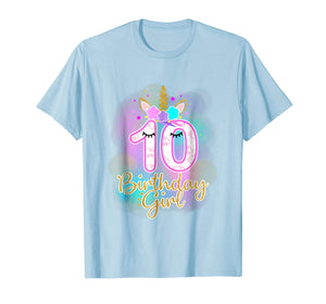 10th Unicorn Birthday girl t-shirt ten years old party gift