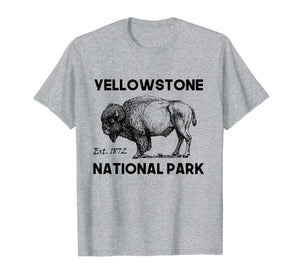 Hiking Yellowstone National Park Tee Shirt Bison Camping