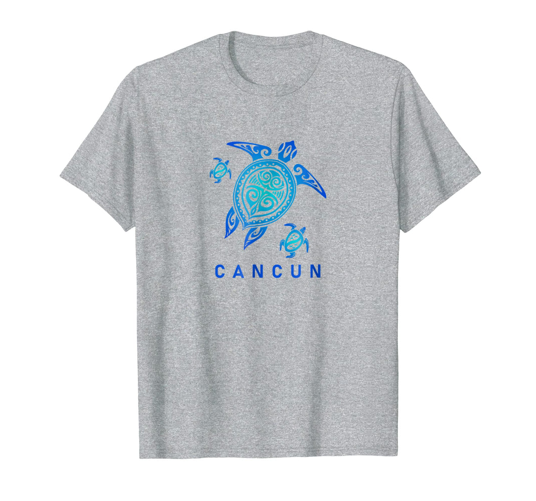 Cancun Mexico T-Shirt Sea Blue Tribal Turtle
