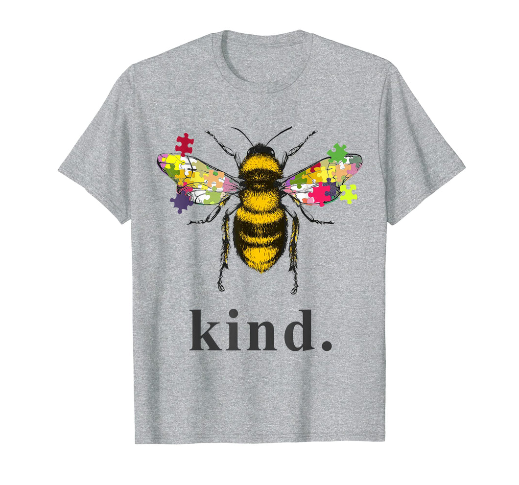 Autism Awareness Bee Kind Puzzle Pieces T Shirt