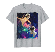 Load image into Gallery viewer, Cute Space Cat vs Pug Shirt Galaxy Epic Fight In Outer Space