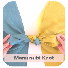 Simple knot with blue and yellow Furoshiki