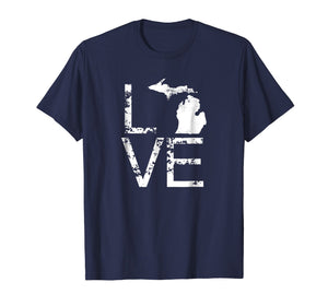 Michigan Love Shirt MI State Home Pride Map Distressed Tee