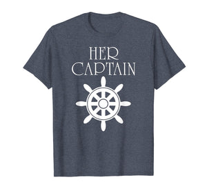 Mens Funny Cruise Her Captain His Anchor Couple Shirt