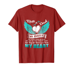 Mom & Dad My Angels Tshirt - in memory of parents In Heaven