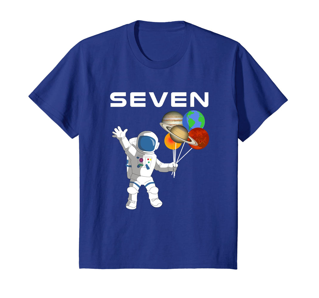 Kids 7 Year Old Outer Space Birthday Party 7th Birthday Shirt B