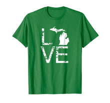 Afbeelding in Gallery-weergave laden, Michigan Love Shirt MI State Home Pride Map Distressed Tee