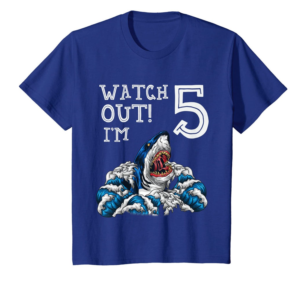 Kids 5th Birthday Shirt Boys Gift 5 Year Old Shark Fan Pool Party