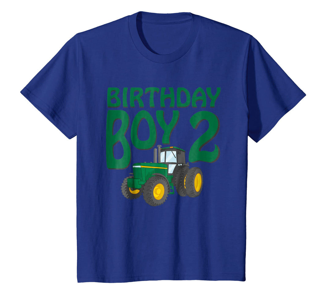 Kids 2nd Birthday Green Farm Tractor Shirt | Two 2 Year Old