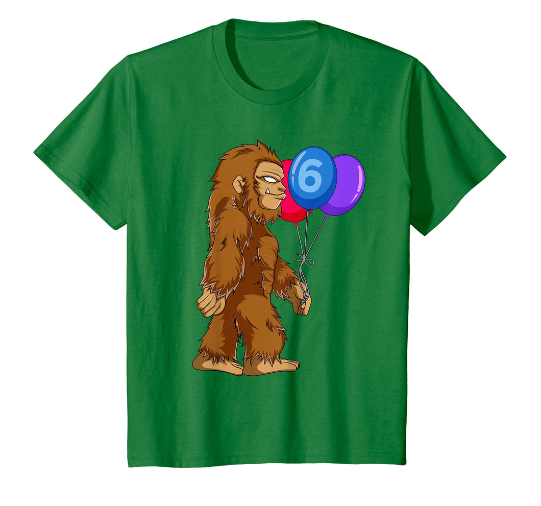 Kids Bigfoot 6th Birthday T Shirt Kids Boys Funny Sasquatch Gift
