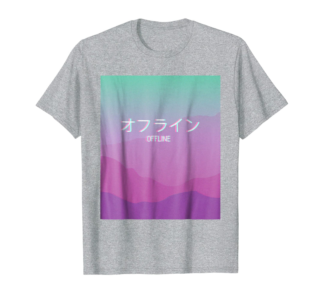 Melancholic Sad Boys Vaporwave 'Offline' T-shirt with Kanji