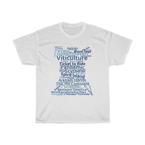 Board Game T-Shirt Board Game names in blue - boardgamerstore