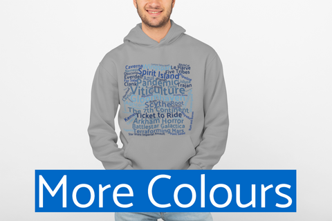 Board Games Hoodie, Blue Square of Board Game names - boardgamerstore