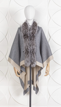 Load image into Gallery viewer, DANA STEIN REVERSIBLE WRAP WITH FOX TRIM
