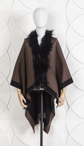 DANA STEIN REVERSIBLE WRAP WITH FOX TRIM