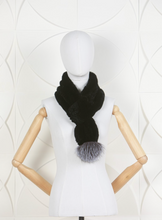 Load image into Gallery viewer, DANA STEIN RABBIT SCARF WITH FOX POM-POM