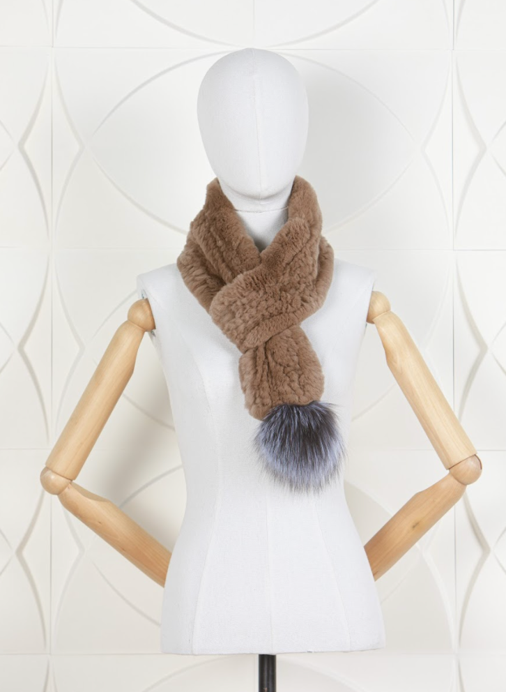 DANA STEIN RABBIT SCARF WITH FOX POM-POM