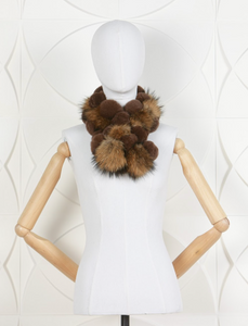 DANA STEIN RABBIT SCARF WITH RACOON TRIM