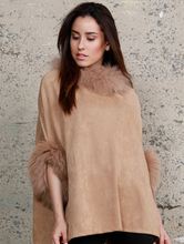 Load image into Gallery viewer, DOLCE CABO SUEDE PONCHO WITH FUR TRIM