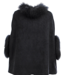 DOLCE CABO SUEDE PONCHO WITH FUR TRIM