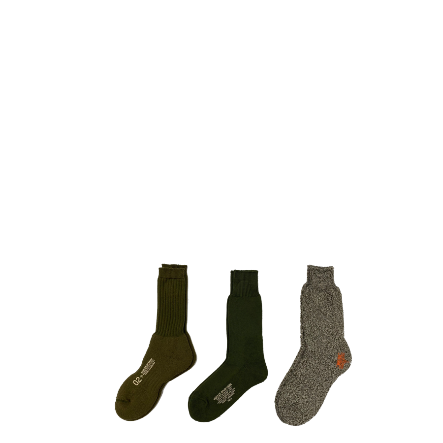 Nigel Cabourn 3 Pack Army Socks Green