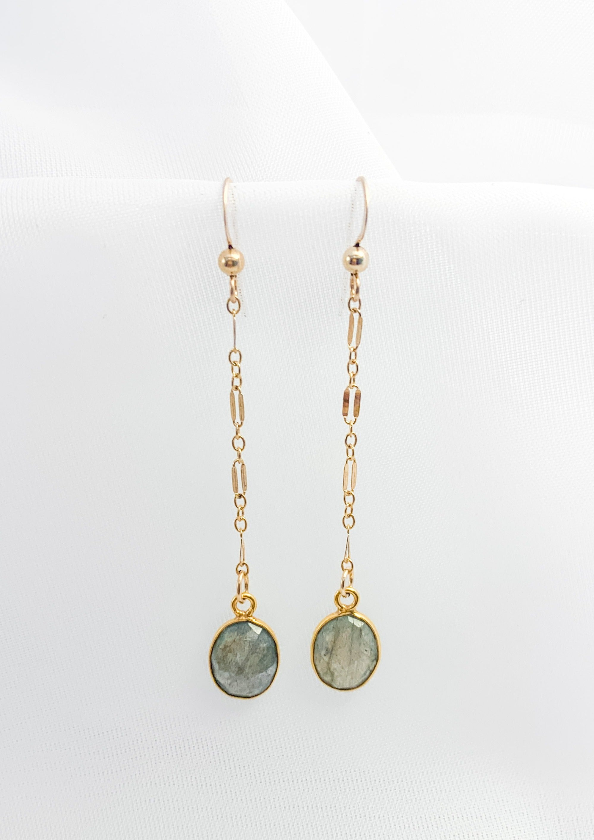 Faceted Labradorite Drop Earrings