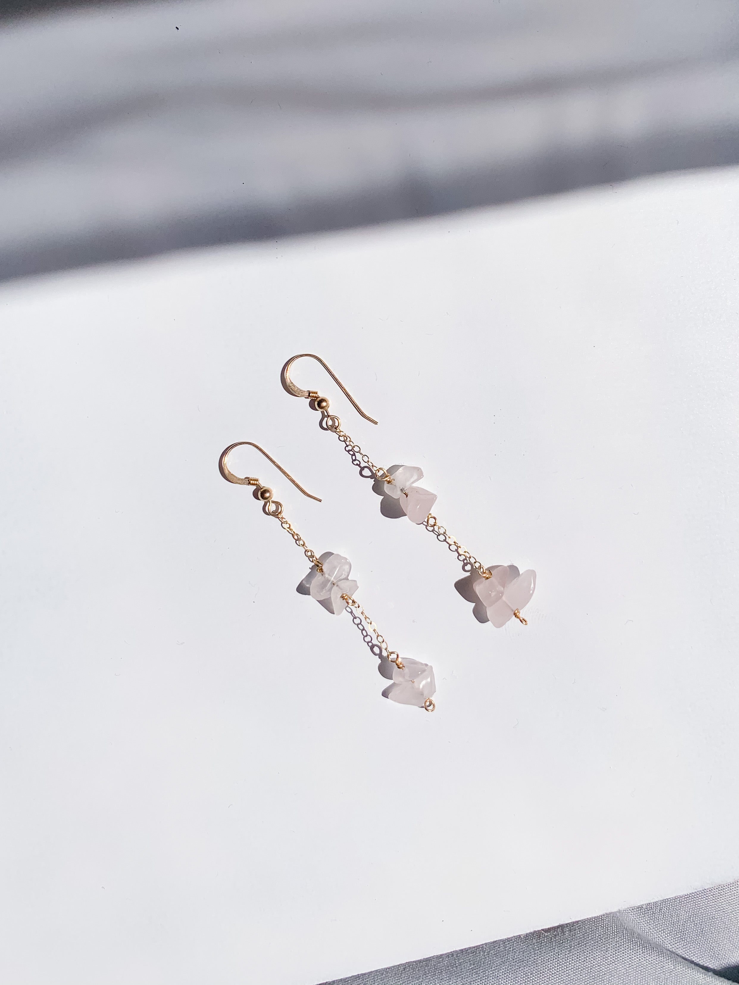 Stacked Rose Quartz Earrings