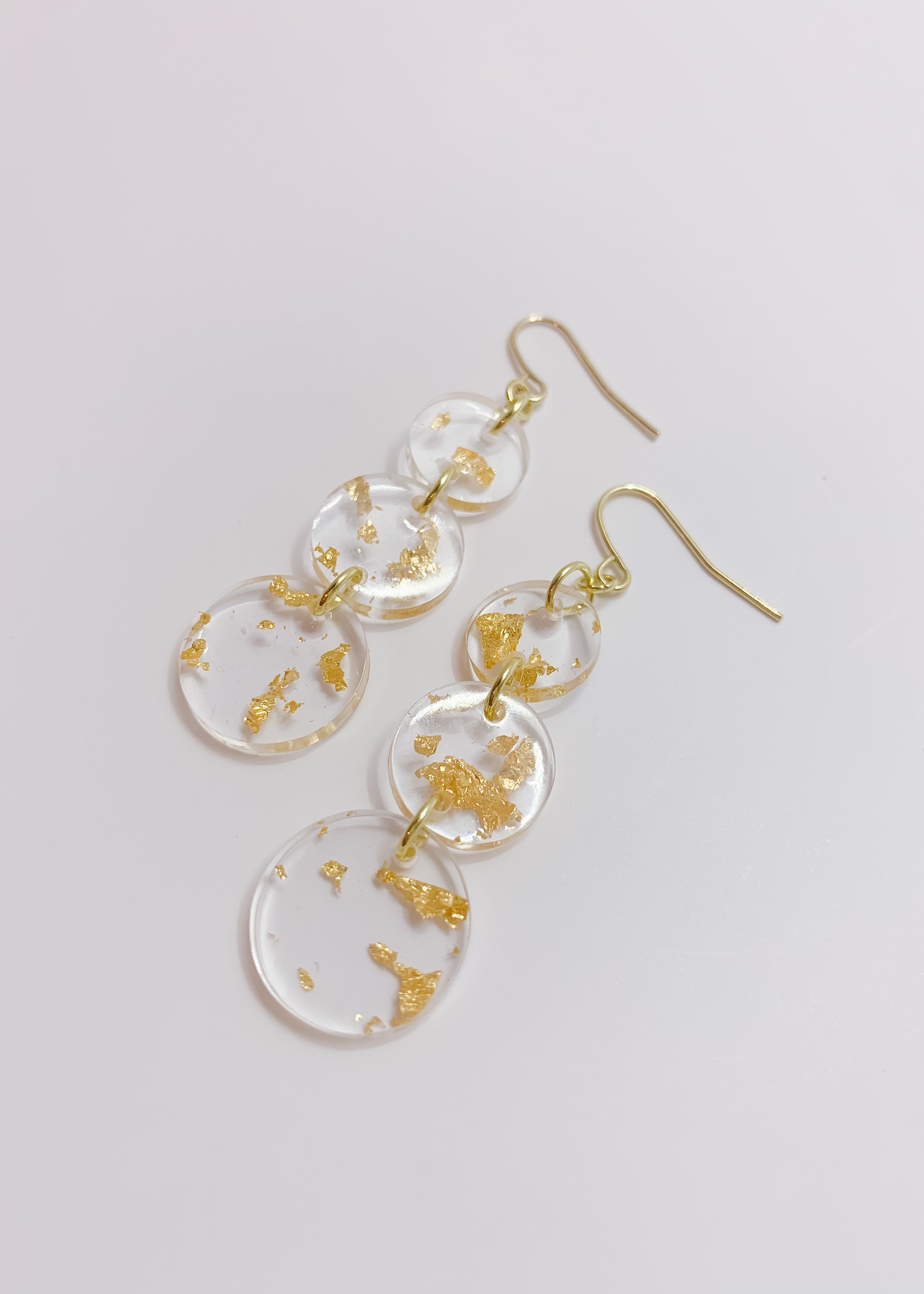 Gold Flake Coin Drop Earrings