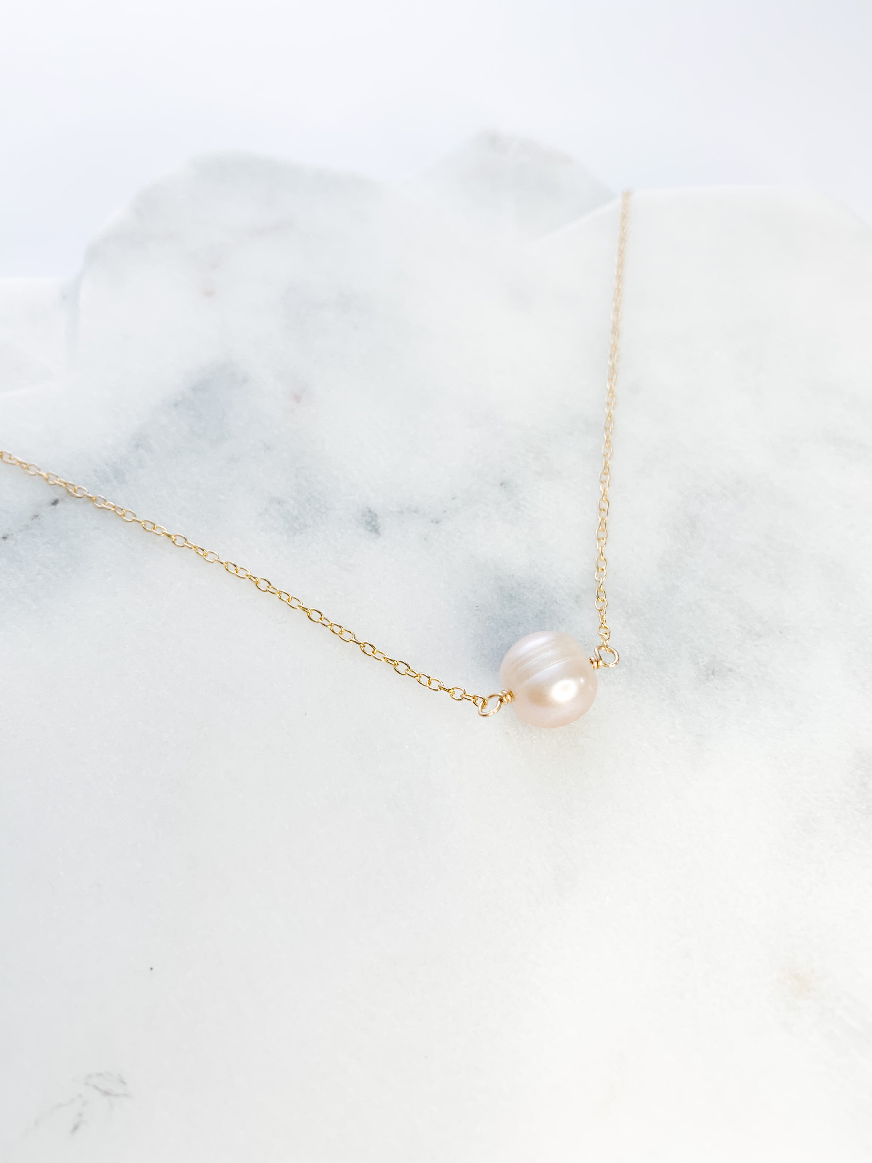 Floating Pink Pearl Necklace