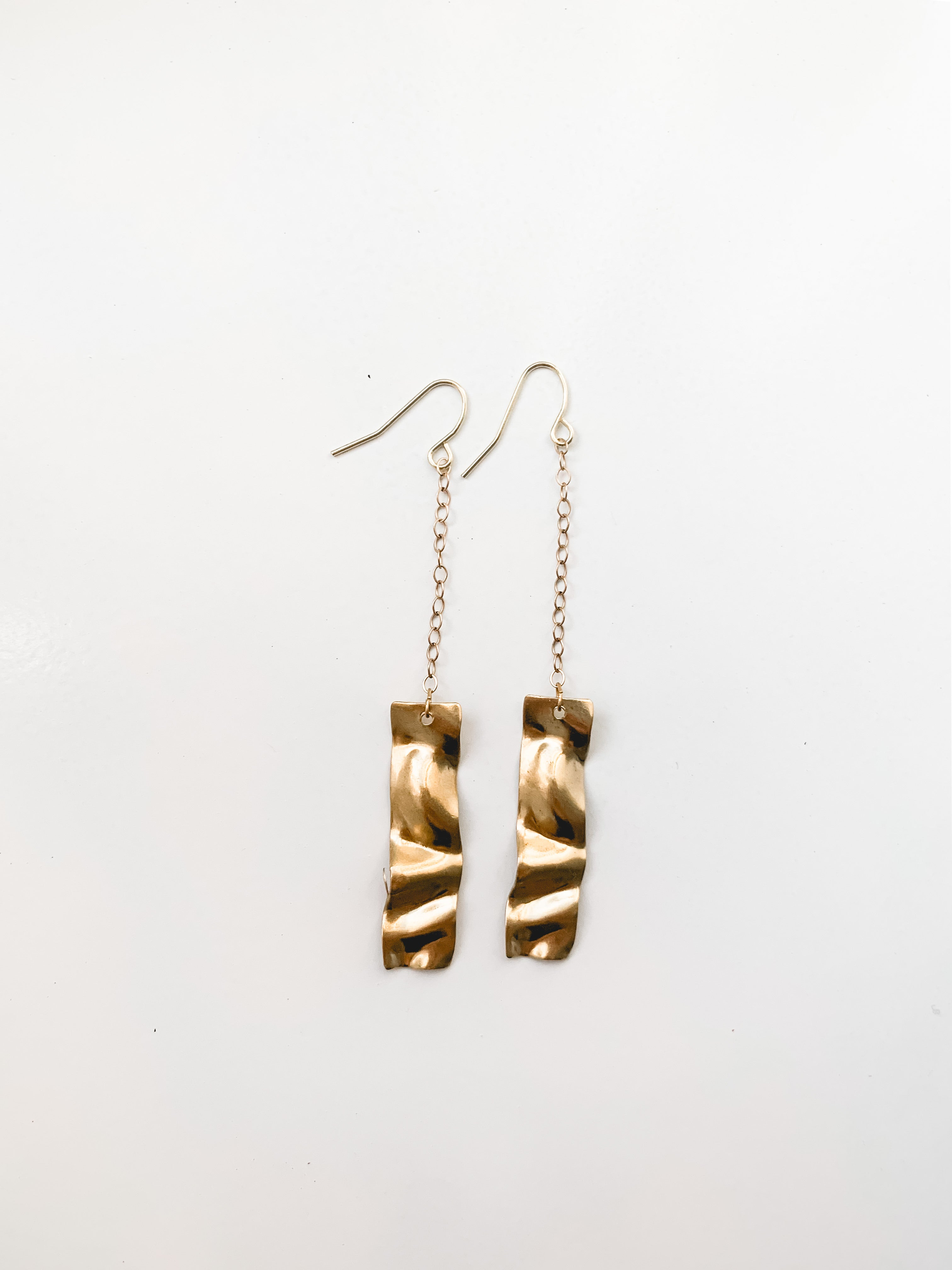 Rippled Brass Earrings