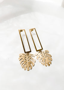 Monstera Stud Earrings