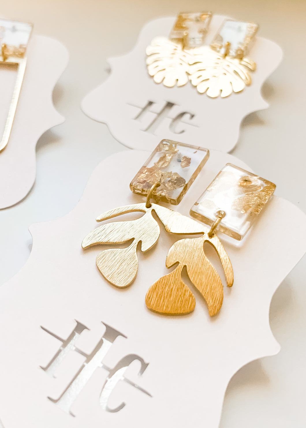 Gold Flake Leaf Studs