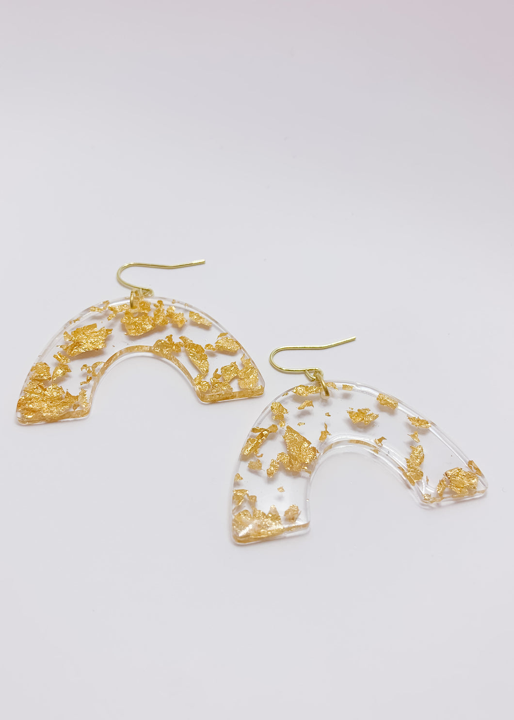 Gold Flake Rainbow Earrings