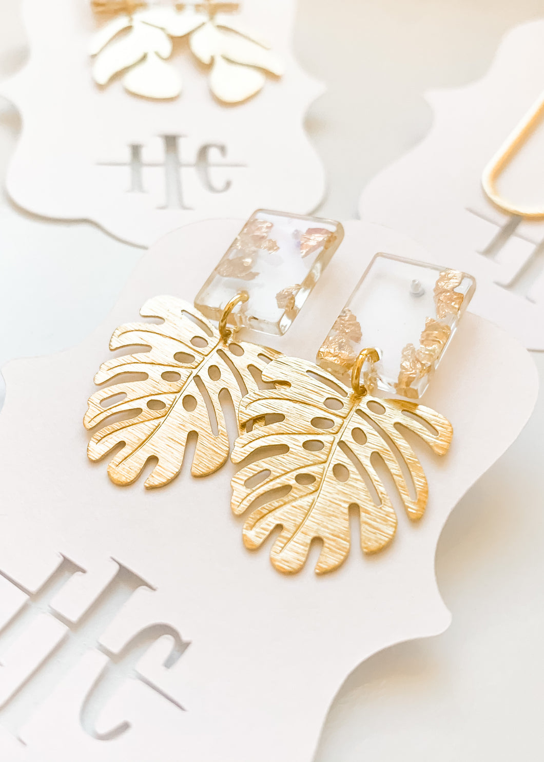 Gold Flake Monstera Studs