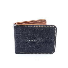 Load image into Gallery viewer, Wallet made of stingray skin Luxury handmade wallet Black polished