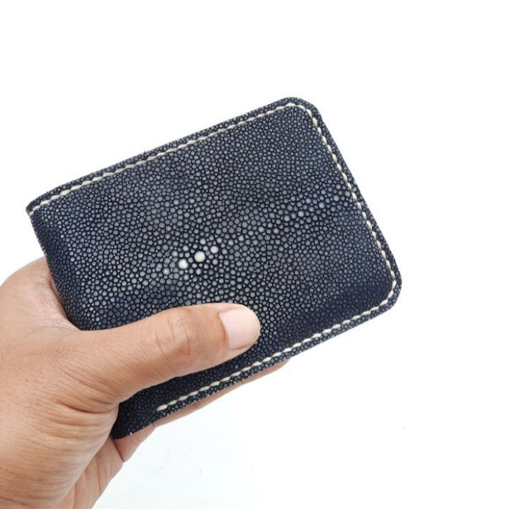 Wallet made of stingray skin Luxury handmade wallet Black polished