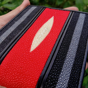 Wallet for men made of genuine stingray skin Red and black color