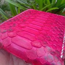 Load image into Gallery viewer, Wallet made of phyton snake skin Red fuschia