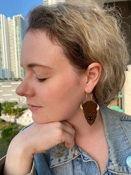Bison Hoop Earrings