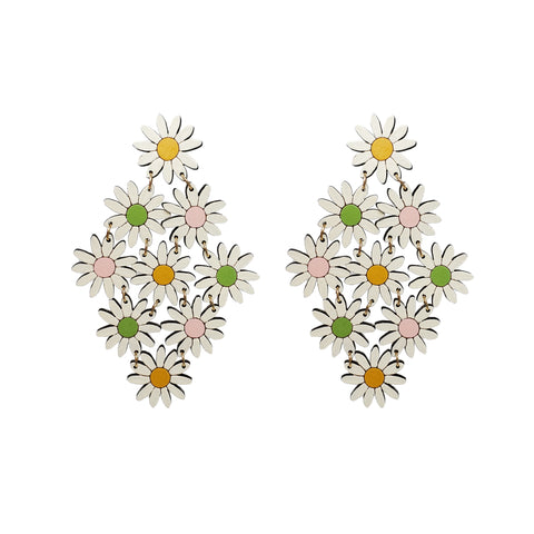 Colorful Daisy Chain Statement Earrings