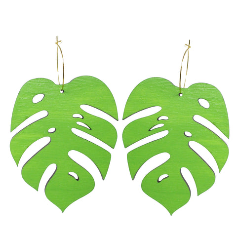 Giant Green Monstera Leaf Hoops Earrings