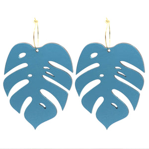 Giant Turquoise Monstera Hoops