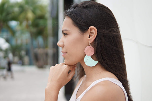 Girl Wearing Julie Geometric Dangles Earrings