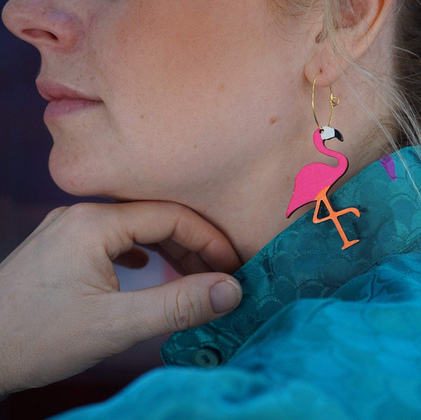 Girl wearing Neon Flamingo Hoops Earrings