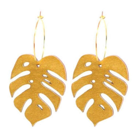 Gold Monstera Hoops