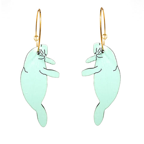 Mint Manatee Hoop Earrings