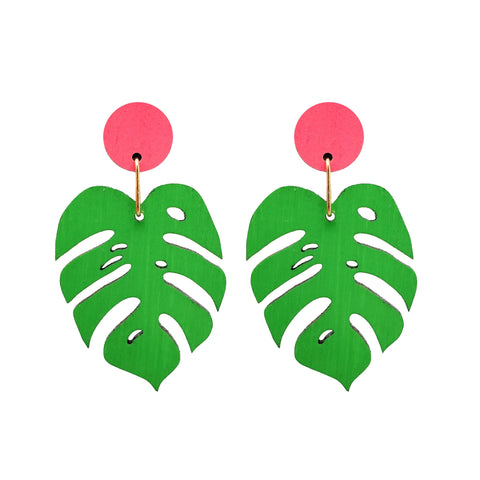 Monstera Pink Dot Dangles