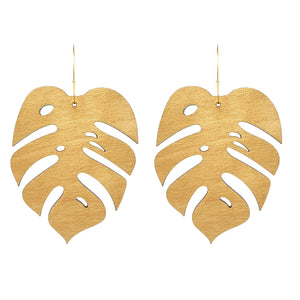 Giant Gold Monstera Hoops