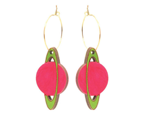 Neon Saturn Hoops Earrings